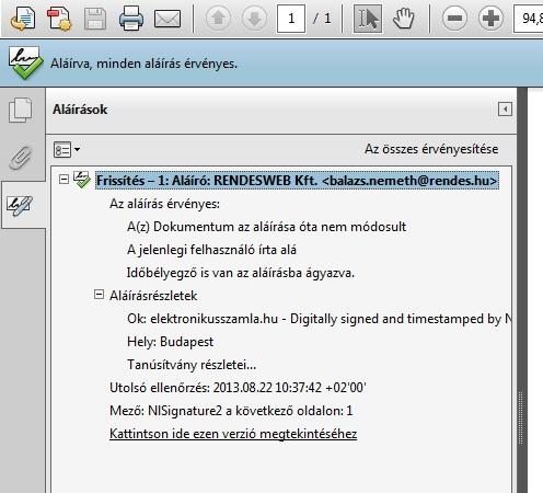 PDF formátumú e-számla ellenőrzése, 3. rész