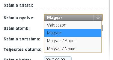 Számla nyelv választása internetes számlázónál